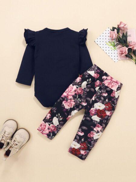 Blank Bodysuit Flower Print Pants Headband Three Pieces Girls Sets Wholesale Baby Clothes, Wholesale 2