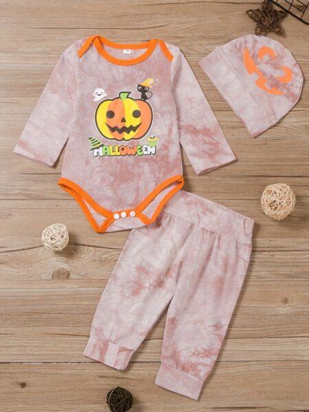 Tie Dye Halloween Pumpkin Wholesale Baby Boy Clothes Sets, 1-6Years, Tie Dye, Cartoon, Cotton Blend, Autumn Winter, Wholesale 2