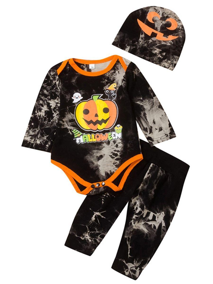 Tie Dye Halloween Pumpkin Wholesale Baby Boy Clothes Sets, 1-6Years, Tie Dye, Cartoon, Cotton Blend, Autumn Winter, Wholesale