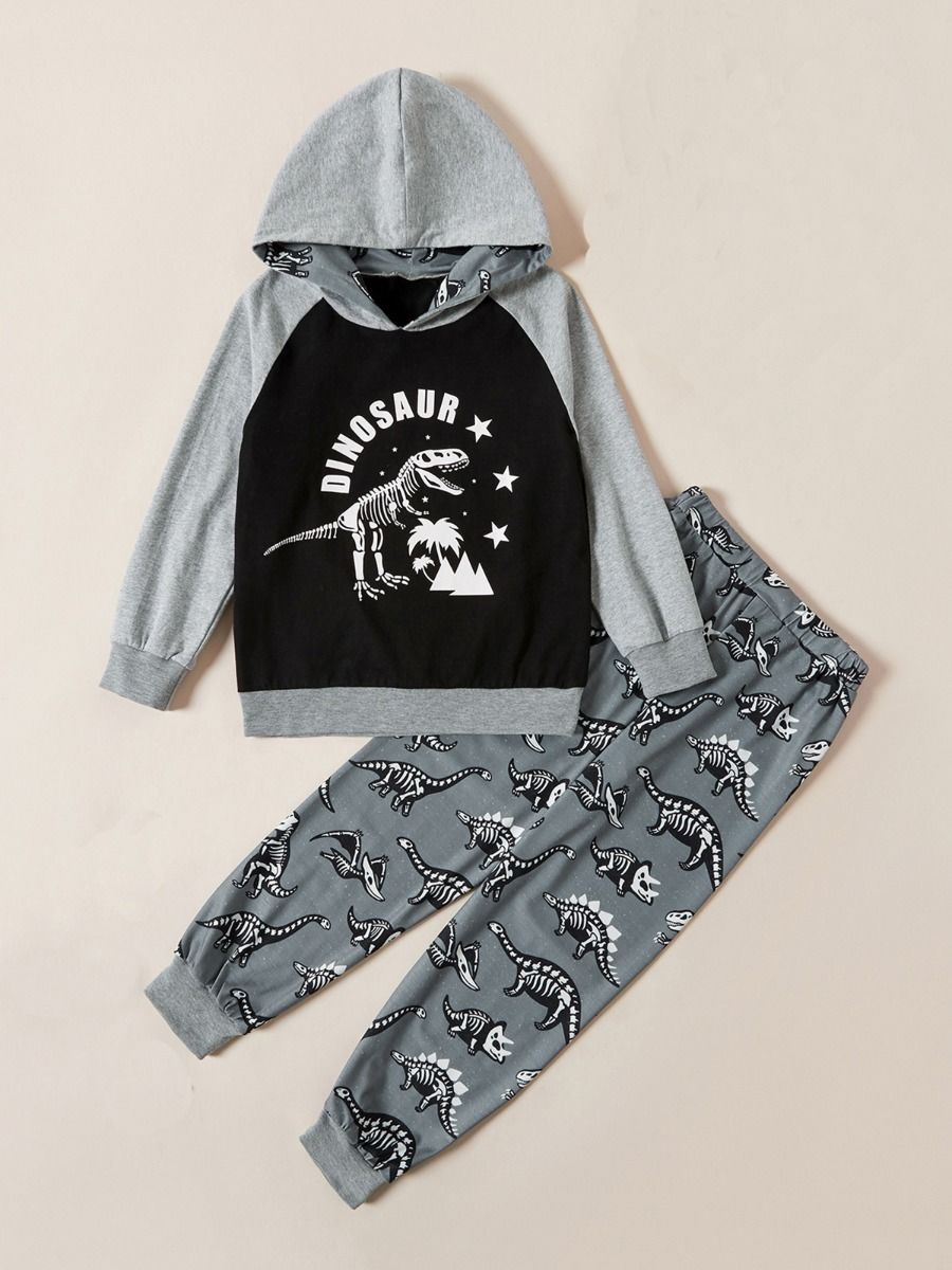 Dinosaur Print Hoodie & Pants Kid Boys Outfits Sets, 2-8Years, Dinosaur, Cotton Blend, Autumn Winter,  Wholesale