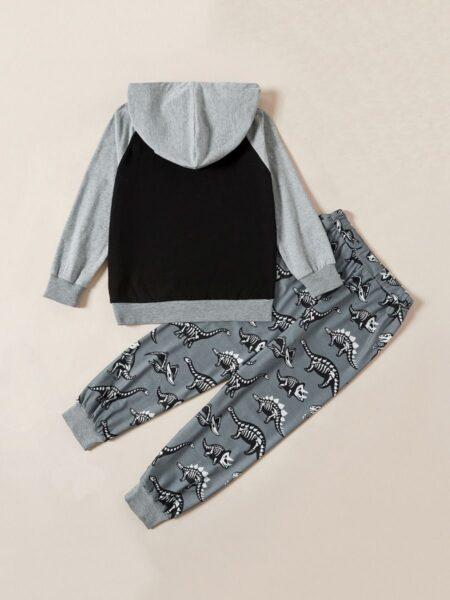 Dinosaur Print Hoodie & Pants Kid Boys Outfits Sets, 2-8Years, Dinosaur, Cotton Blend, Autumn Winter,  Wholesale 2