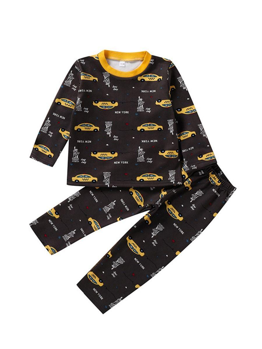 Car Letter Peint Big Boys Pajamas Sets, 4-9Years, Car, Cotton Blend, Autumn Winter Wholesale