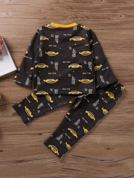 Car Letter Peint Big Boys Pajamas Sets, 4-9Years, Car, Cotton Blend, Autumn Winter Wholesale 2