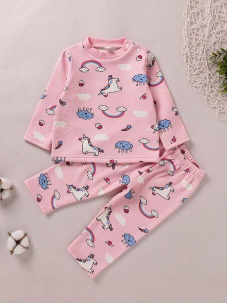 Rainbow Unicorn Car Toddler Girl Sleepwear Sets  Wholesale 2