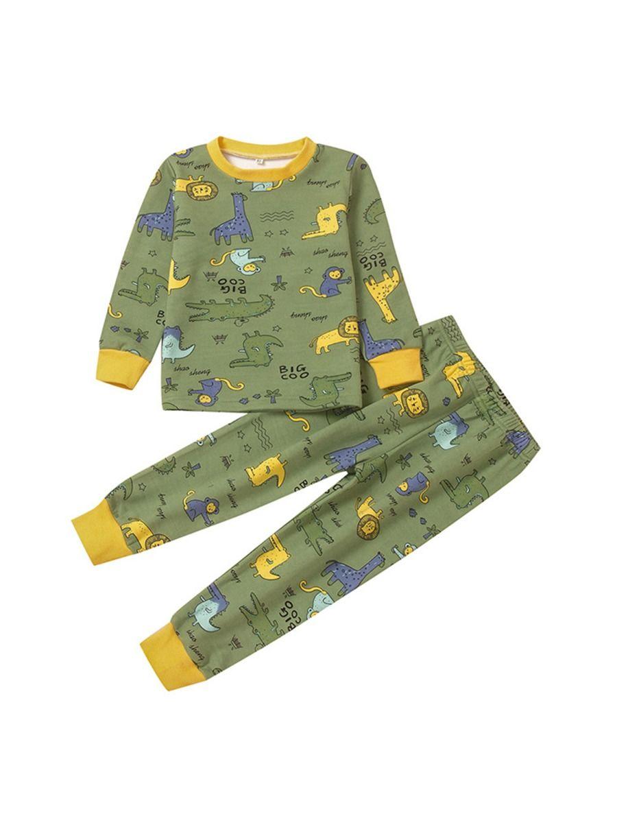 Big Boys Pajama Sets Animal Print Wholesale Boy Clothes, 4-9Years, Animals, Polyester, Autumn Winter, Wholesale