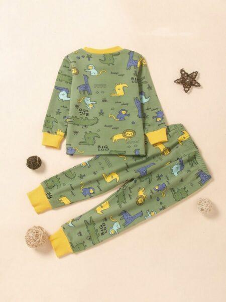 Big Boys Pajama Sets Animal Print Wholesale Boy Clothes, 4-9Years, Animals, Polyester, Autumn Winter, Wholesale 2