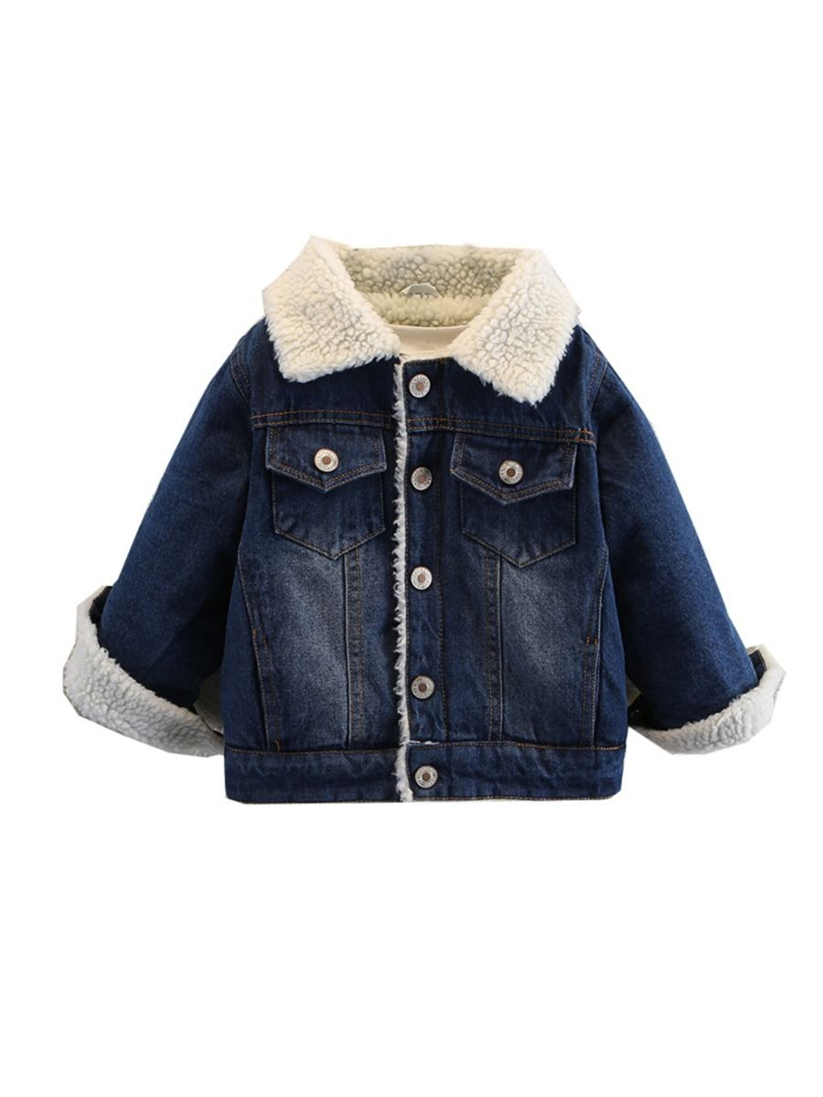 Lamb Wool Lined Denim Jackets Wholesale Kids Clothing, Solid Color, Denim, Polyester, Cashmere, Autumn Winter, Wholesale