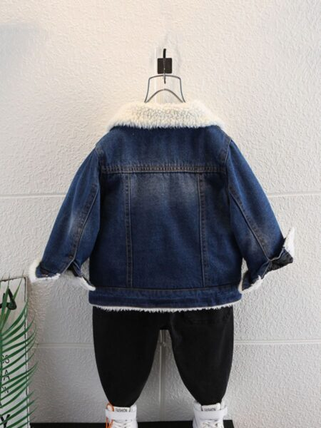 Lamb Wool Lined Denim Jackets Wholesale Kids Clothing, Solid Color, Denim, Polyester, Cashmere, Autumn Winter, Wholesale 2