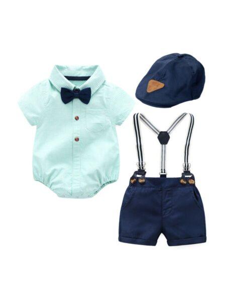 Baby Boys Suit Sets Plain Bowtie Shirt Bodysuit & Suspender Short & Hat, 0-12Months, 3-18Months, Solid Color, Cotton Blend, High Summer, Wholesale Sets