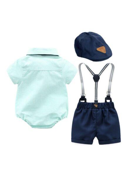 Baby Boys Suit Sets Plain Bowtie Shirt Bodysuit & Suspender Short & Hat, 0-12Months, 3-18Months, Solid Color, Cotton Blend, High Summer, Wholesale Sets 2