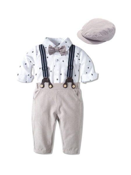 Baby Boys Suit Sets Bowtie Shirt Bodysuit & Suspender Pants & Hat, 0-24Months, Polka dots, Cotton Blend, High Summer, Wholesale