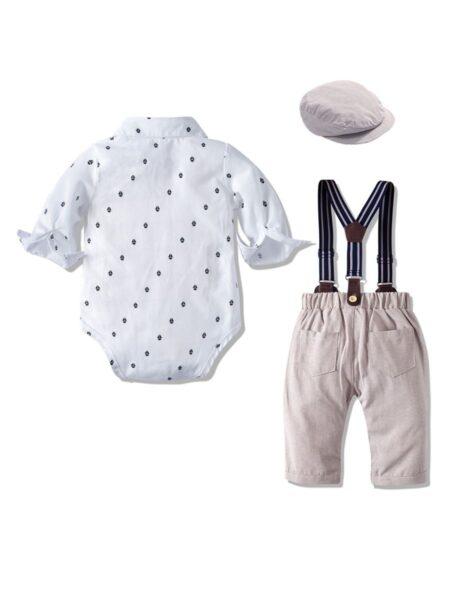 Baby Boys Suit Sets Bowtie Shirt Bodysuit & Suspender Pants & Hat, 0-24Months, Polka dots, Cotton Blend, High Summer, Wholesale 2