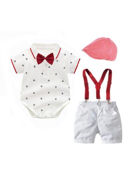 Boys Suit Sets Bowtie Shirt Bodysuit Wholesale Baby Boy Clothes, 0-12Months, 3-18Months, Polka dots, Cotton Blend, High Summer, Wholesale