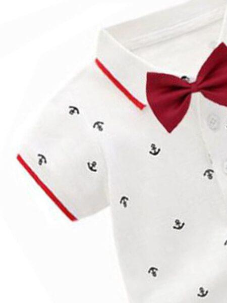 Boys Suit Sets Bowtie Shirt Bodysuit Wholesale Baby Boy Clothes, 0-12Months, 3-18Months, Polka dots, Cotton Blend, High Summer, Wholesale 2