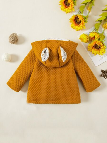 Solid Color Rabbit Shaped Baby Girl Coat Wholesale Baby Clothes, 3-24Months, Solid Color, Animals, Cotton Blend, Winter, Wholesale 2