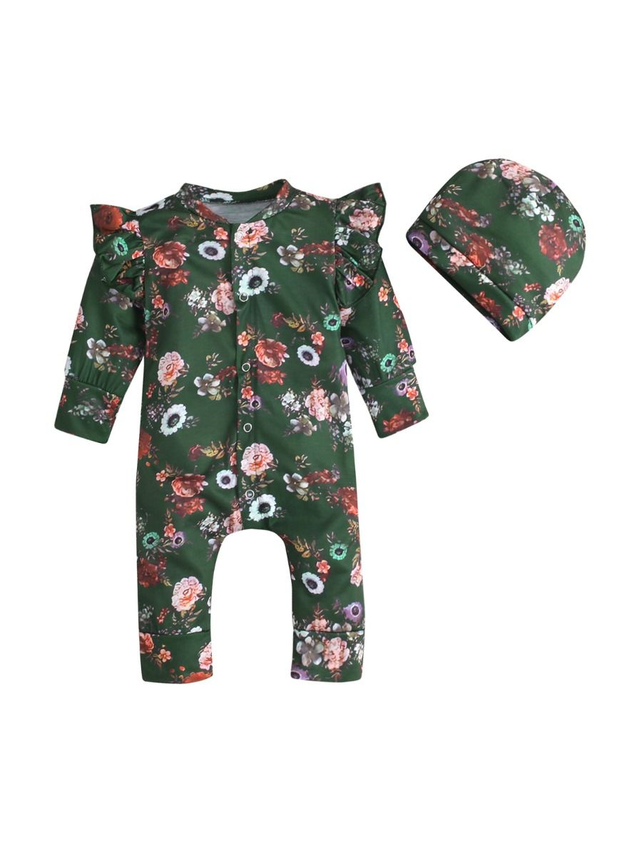 Flower Print Flutter Sleeve Baby Girl Jumpsuit With Hat, 0-12Months, Flower, Cotton Blend, Spring Autumn, Wholesale