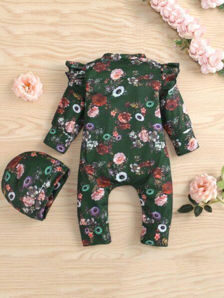 Flower Print Flutter Sleeve Baby Girl Jumpsuit With Hat, 0-12Months, Flower, Cotton Blend, Spring Autumn, Wholesale 2
