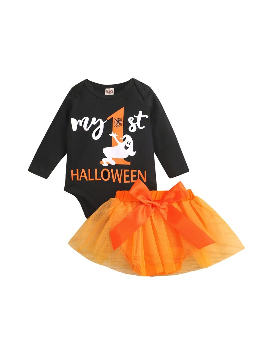 MY FIRST HALLOWEEN Bodysuit Mesh Skirt Baby Girl Clothes Set, 0-12Months, Letters, Printed, Cotton Blend, Spring Autumn, Wholesale