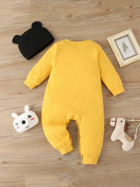 Yellow Cute Panda Print Baby Boy Jumpsuit With Hat Wholesale Baby Clothes, 0-3M, 3-18Months, Animals, Printed, Cotton Blend, Spandex, Spring Autumn, Wholesale 2