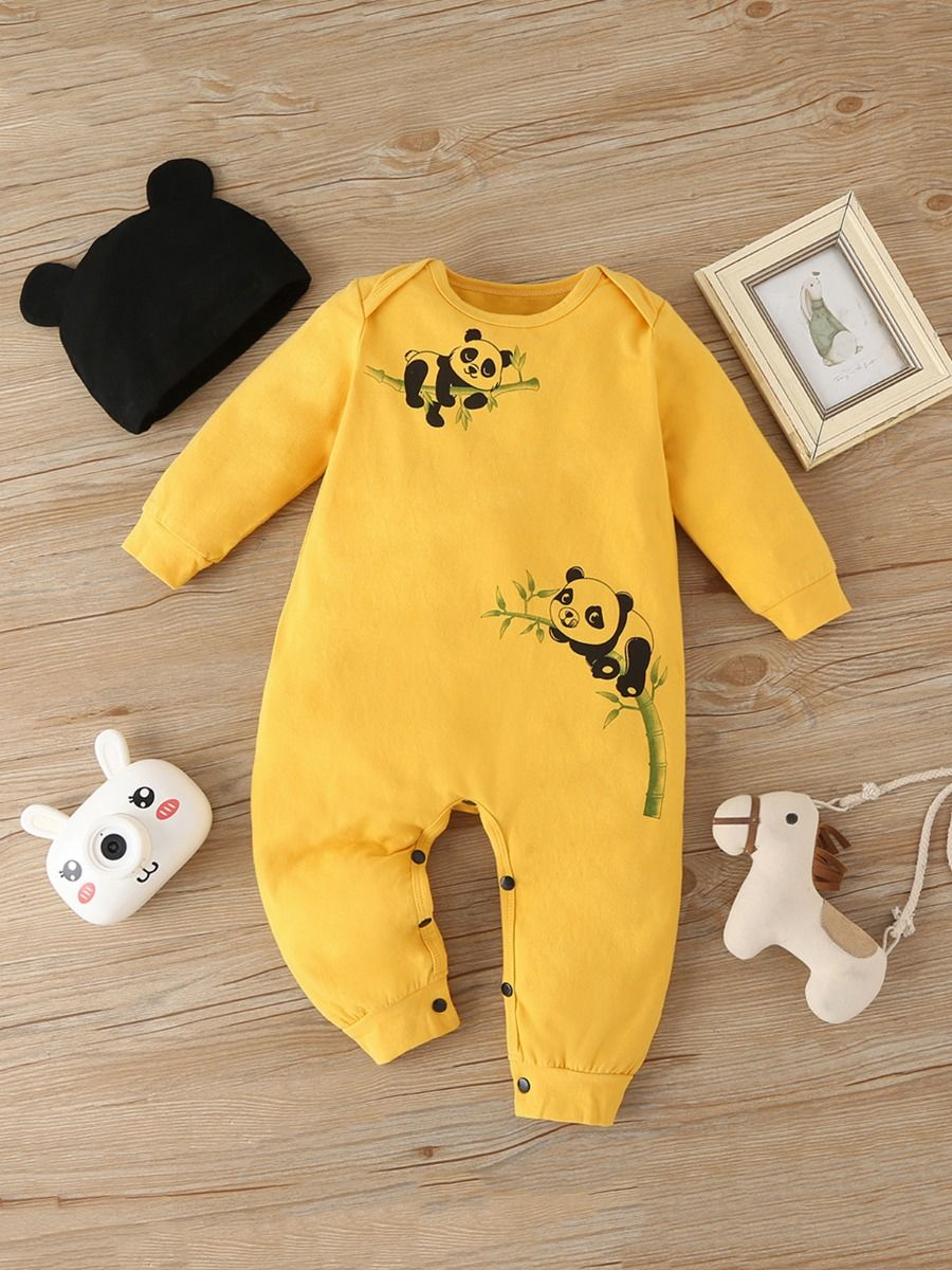 Yellow Cute Panda Print Baby Boy Jumpsuit With Hat Wholesale Baby Clothes, 0-3M, 3-18Months, Animals, Printed, Cotton Blend, Spandex, Spring Autumn, Wholesale