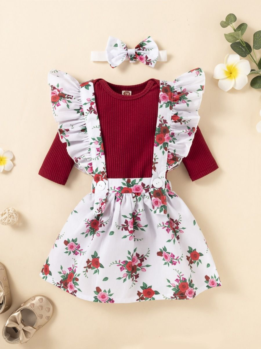 Blank Ribbed Bodysuit Flower Print Suspender Skirt Headband Three Pieces Girls Sets Wholesale Baby Clothes, 3-24Months, Flower, Cotton Blend, Spring Autumn, Wholesale