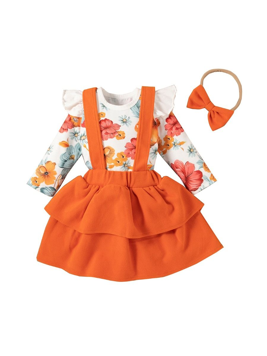 Flower Print Bodysuit Suspender Skirt Headband Three Pieces Girls Sets Wholesale Baby Clothes, 3-24Months, Flower, Printed, Cotton Blend, Spring Autumn, Wholesale
