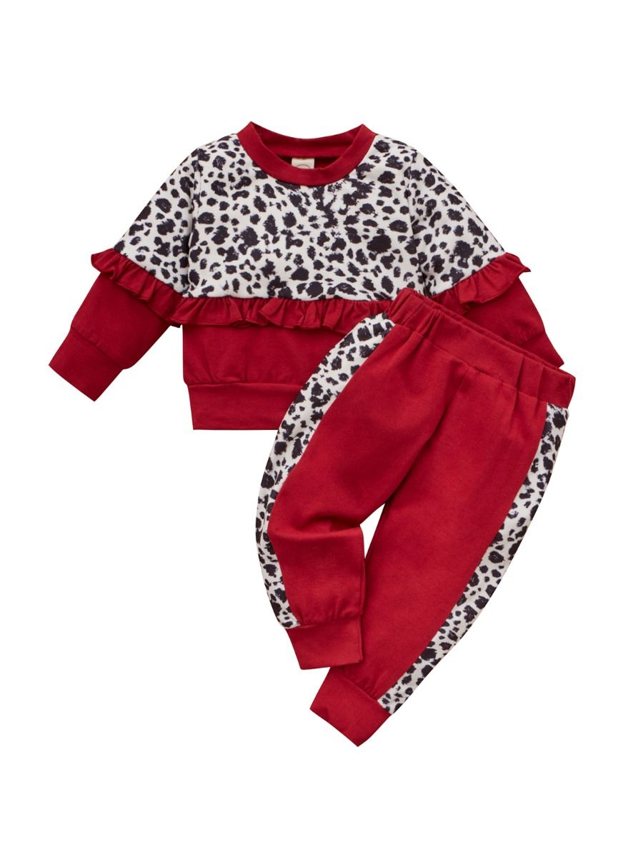 2 Pieces Leapard Print Toddler Girls Sets Top And Trousers6-24Months, 2-4Years, Cotton Blend, Cotton Blend, Wholesale